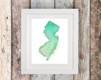 New Jersey Art - New Jersey - New Jersey Gift - New Jersey Print - Housewarming Gift - New Jersey Map - New Jersey Poster - New Jersey State
