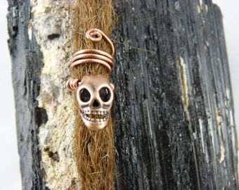 "Dread jewelry ""skull"" Dreadperle, Rasta jewelry, dread jewelry made from copper wire"