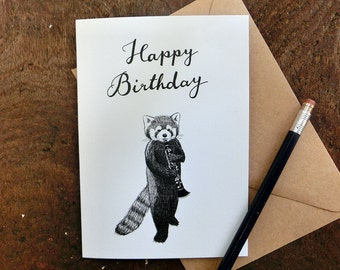 Red Panda Clarinet Birthday Card