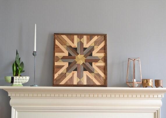 Gold Star Wall Decor: Wood Wall Art Star Pattern Lath Decor Gold/stain/reclaimed