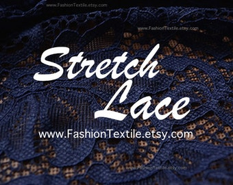 Navy Lace Fabric. Stretch Lace
