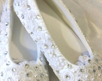 "Ivory White Champagne - Ballet Flat Slipper - Custom - Wedding - Bridal Prom Ballerina ""Amanda"" Crystal Pearl  Comfortable - ON SALE Now!"
