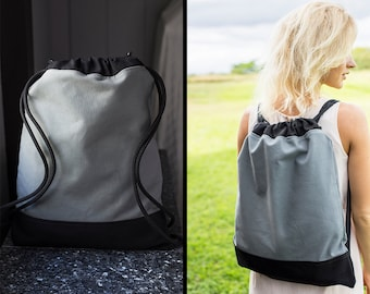 Canvas Backpack - Canvas Drawstring Backpack Gray - Canvas Backpack for Girls - Canvas Backpack for Men - Mens Backpack - Sporty Backpack