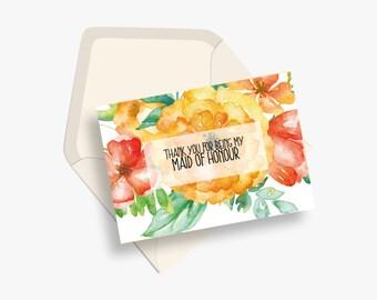Bridesmaid thank you cards | Bridesmaid thank you notes | Wedding thank you | Bridal party thank you notes | Bridesmaid thank you
