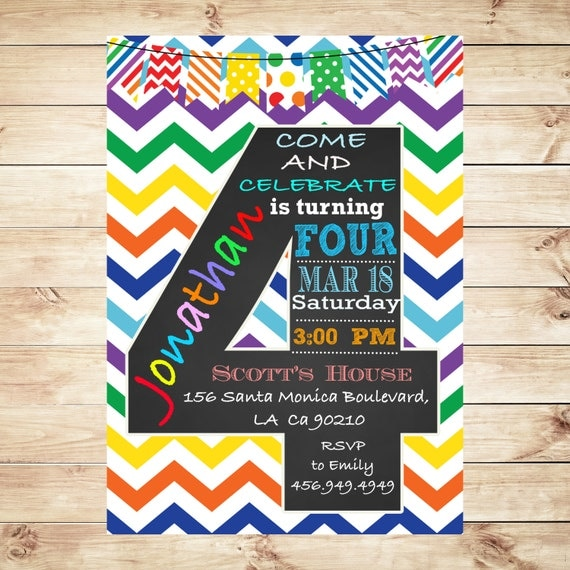 May The 4th Be With You Invitations: Items Similar To Rainbow 4TH Birthday Party 4th