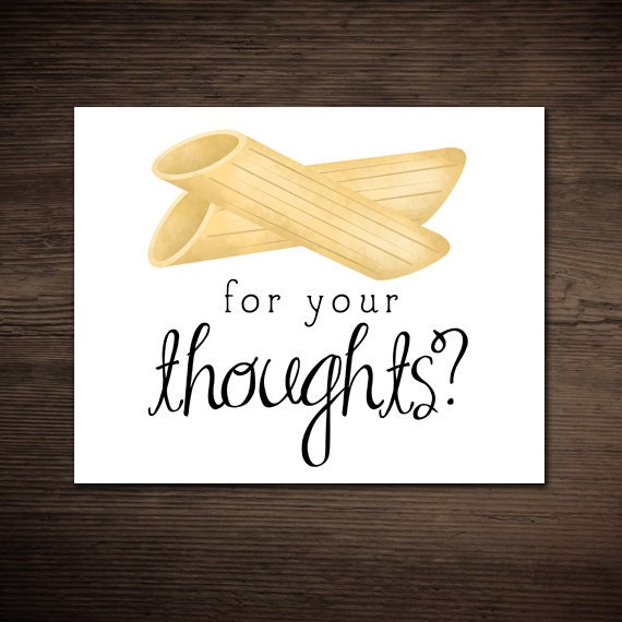 Kitchen Poster Food As Alphabet With Food Name: Penne For Your Thoughts Funny Printable Poster 8x10 Digital