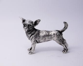 Miniature Chihuahua, Silver Chihuahua, Chihuahua Figurine, Chihuahua sculpture, Chihuahua gift, Chihuahua dog, Dog Figurine,