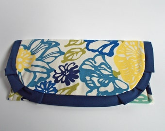Blue and Yellow Ruffle Clutch