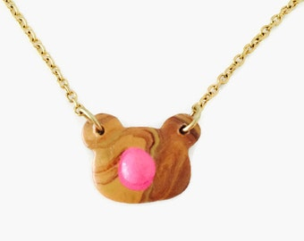 Mini Bear Necklace, Brown Bear Necklace, Cute Bear Jewelry, Jewelry Bear Brown, Animal Necklace Bear, Polymer Clay Bear Necklace,