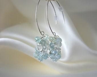 Aquamarine grapes earrings Sterling Silver 925 aquamarine grape earrings Silver 925