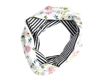 Reversible baby scarf, toddler scarf, floral and stripe circle scarf, baby circle scarf, baby infinity scarf