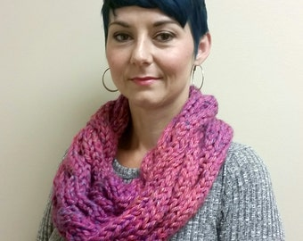 Pink Chunky knitted ultra soft Cowl - Infinity Scarf