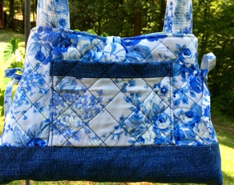 Denim and quilted small tote bag, Blue floral and denim tote, Quilted shoulder bag, Top handle bag