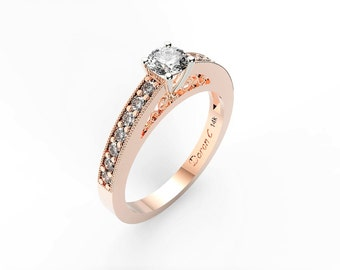 Engagement ring, 14KT Rose Gold Engagement Ring, Diamond Promise Ring, Heirloom Quality, Anniversary Ring, Gold Ring, DC1032-2
