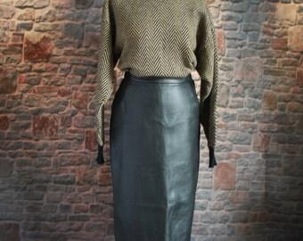Vintage Pencil Skirt, High waisted, 100% Leather, UK 14