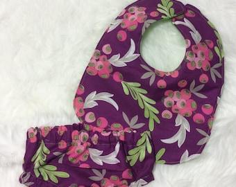 Berry Bib, Reversible Green Bib, Purple Diaper Cover, Berry Diaper Cover, Purple Bloomers, Matching Bib and Diaper Cover
