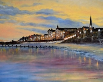 Original hand painted oil painting of Bridlington Seaside made by SARMITE ALKSNE. Size 28 x 20 inches.