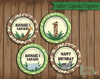 Safari cupcake toppers, printable cupcake toppers, Safari party circles, safari birthday, jungle party printables, safari topper download