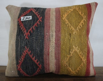 16x18 kilim pillow flat woven Turkish kilim pillow cover 16x18 yellow and black plaid kilim cushion cover SP4040-170