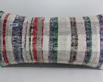Kilim Pillow 12x24 Pale Turkish Kilim Pillow 12x24 multi color Kilim Kelim Kissen 12x24 Rectangular Pillow Cover Kilim Kussen SP3060-239