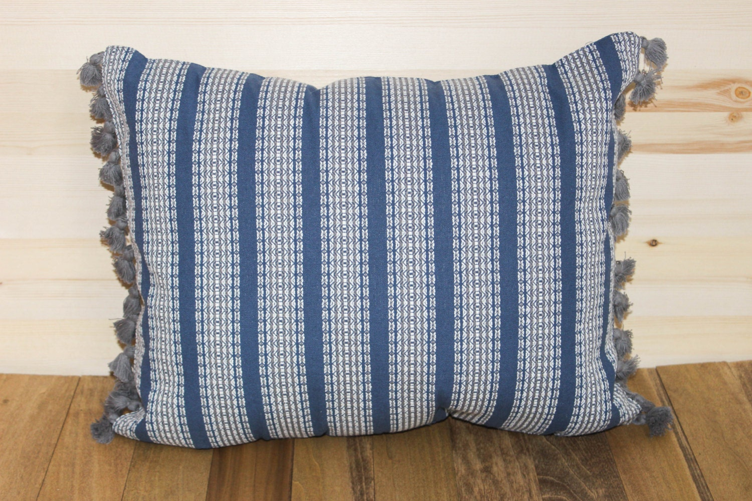Decorative Pillows With Tassels : Blue Tribal Throw Pillow with Tassels by sparrowbloom on Etsy