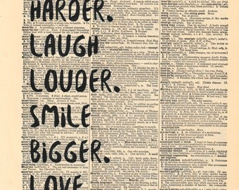 Hug Harder Quote Dictionary Print | Dictionary Pages | Dictionary Art Print | Dictionary Art | Inspirational | Hug | Laugh | Love | Vintage