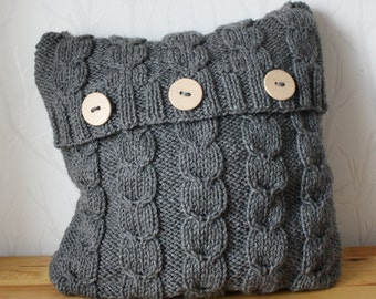 Hand knitted pillow cover Decorative cushion Sweater pillow