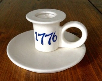 Bicentennial Candle Holder '1776' White & Blue