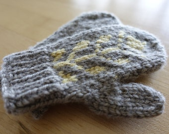 Wool Mittens for Baby in grey & yellow