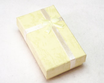 """Gift Box With Bow Attached for Your Jewelry Creations in Yellow - Slots For Necklace/Bracelet, 2 Rings and Earrings - 5cm x 8cm (2""""x3"""")"""