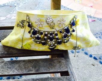 Lemon yellow leather clutch purse