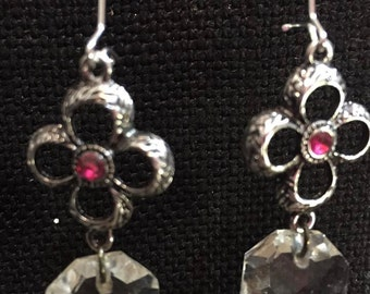 flower and crystal earrings