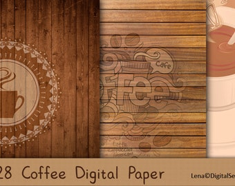 28 Coffee and Chocolate Digital Paper INSTANT DOWNLOAD decoupage paper 12x12 Scrapbook