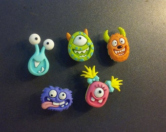 5 Cartoon Monster Magnets - Resembles Monsters Inc. Characters