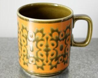 Hornsea 'Osborne' Mug, John Clappison, Vintage Ceramic, England, Snowflake, Olive and Orange Glaze