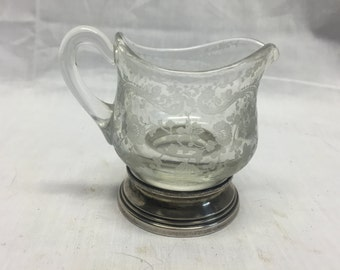Cambridge Chantilly Mini creamer with sterling silver base