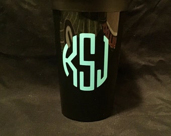 Monogrammed 22 oz black or white stadium cup! Great for birthdays, bridal showers, or teacher gifts!