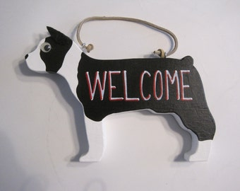Boston Terrier welcome sign