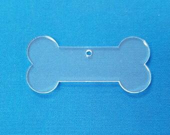 "25 Acrylic Keychains DOG BONE 3"" Dim.  1/8"" Thick laser cut With Polished Edges (Optional colors & Key Ring)"