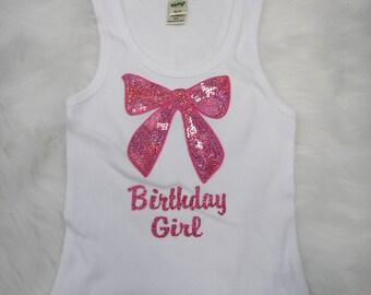 Cute sequin bow applique birthday girl tank