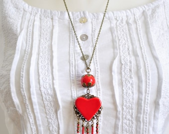 Ceramic necklace red heart