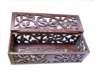Hand carved poplar box
