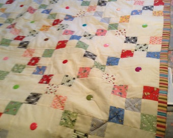 "Handmade Quilt -with 1930's retro child's fabric  60""x54"""