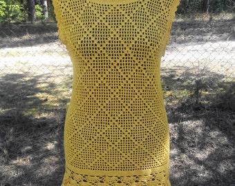 Ladies / girls summer knitted crochet TUNIC yellow dress beachwear with holes uk size 8 10 EU 36 38 US 4 6
