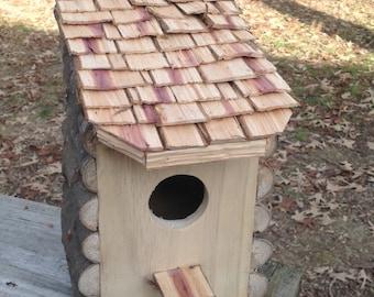 Custom squirrel or birdhouse, cedar shingle roof