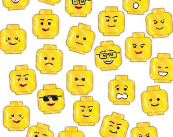 Yellow Heads - 24 different faces - Clipart - Digital Collage, PNG, Instant Download