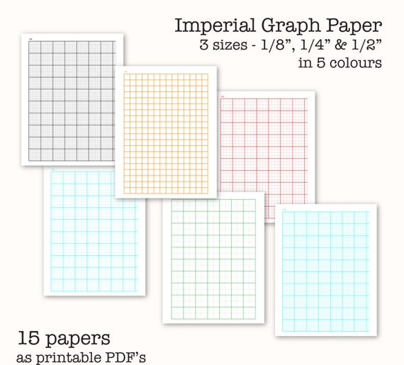 15 Imperial Measure Graph Papers - Digital Graph Paper, Pdf
