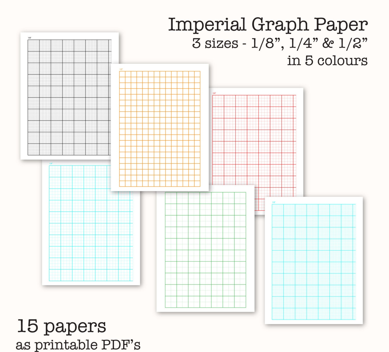 Printable Line Graph Paper: 15 Imperial Measure Graph Papers Digital Graph Paper PDF