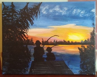 Father and son Fishing silhouette Acrylic on canvas 11x14 Fishing on lake  Lake at sunset painting Father and son art