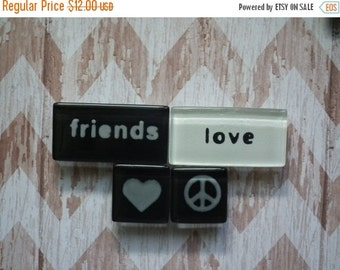 ON SALE Magnets - Word Magnets - Shape Magnets - Set of four magnets - Glass magnets